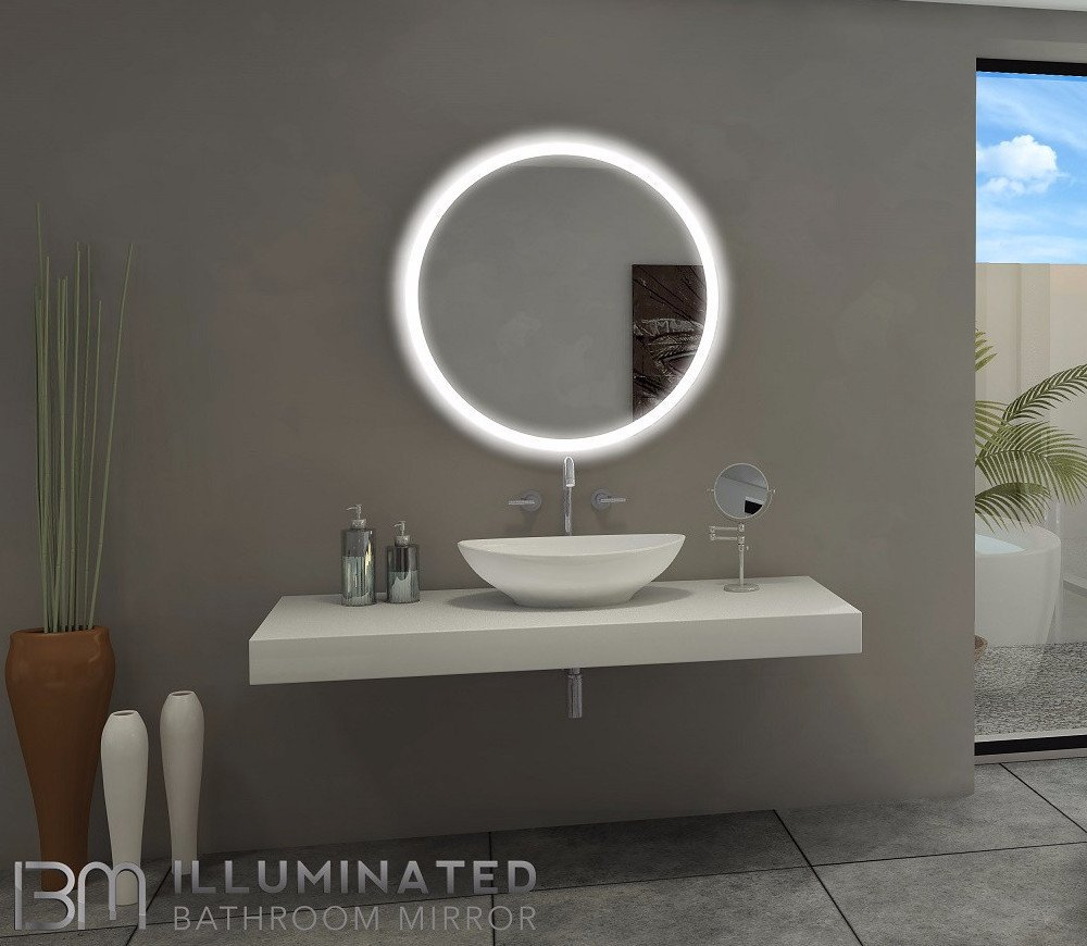 Backlit Bathroom Lighted Mirror Round 32x32 In The Light House Gallery