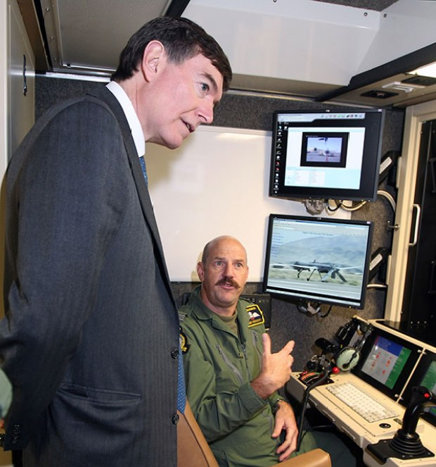 A drone control room at RAF Waddington near Lincoln. In 2012 the Minister for Defence Equipment, Support and Technology - Mr Philip Dunne MP visited RAF Waddington in order to receive capability briefings and further his knowledge of the RAF's current and future ISTAR capability.