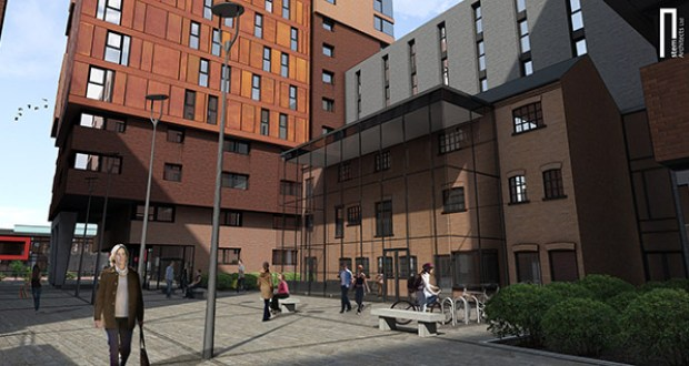 A mockup of the courtyard in front of the pea warehouse. Photo: Stem Architects