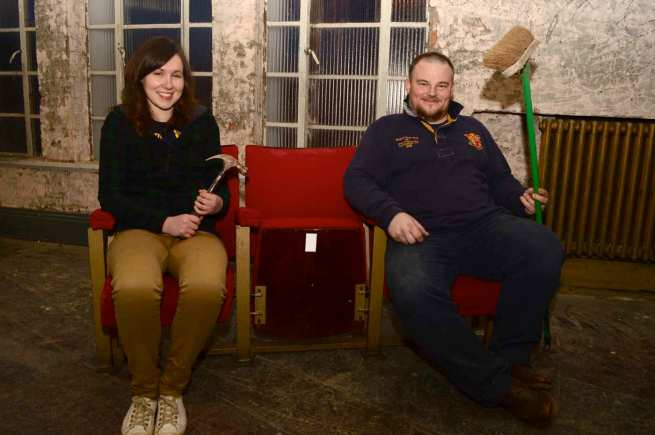 Off The Bench founder Pete Genders with volunteer Alice Carter show The Lincolnite inside the Ritz cinema project progress. Photo: Steve Smailes for The Lincolnite