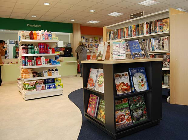 Inside the Waddington library and pharmacy run with Lincolnshire Co-op and volunteers.