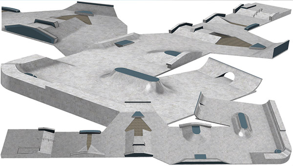 The original design for the skate park by the West Common. The new site will be more flexible.