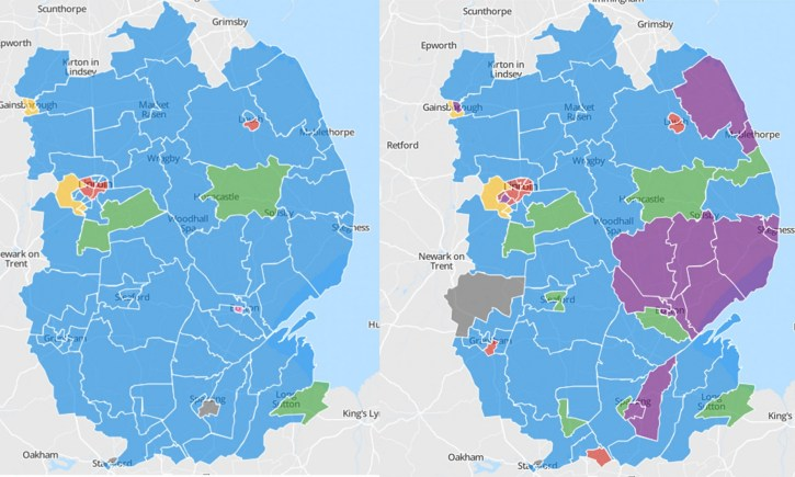 Lincolnshire before and after the 2013 local elections