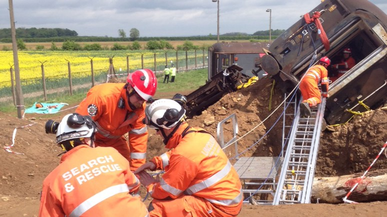 Emergency services teams practiced what they would do in the event of a train crash. Photo: Simon Cotton/LCC
