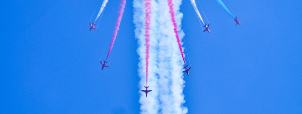 The Red Arrows performing one of their signature breaks. Photo: Steve Smailes for The Lincolnite