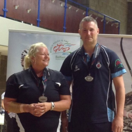 L-R: Gill O'Leary with badminton doubles partner, Jonathan Moore.