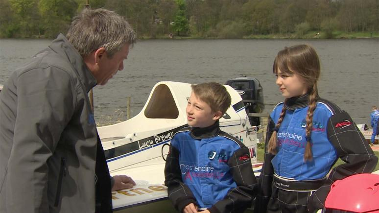 Jonathan (11) and Lucy (12) with former BTCC driver Tiff Needell.