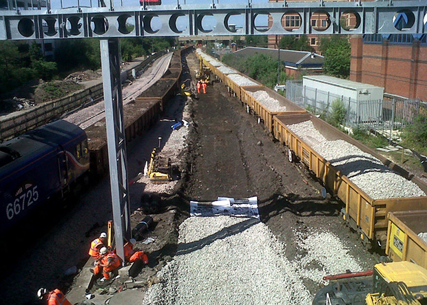 Network Rail removed entire lines to work on the re-signalling project at Nottingham Station. photo: Network Rail