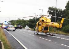 The ambucopter landed on the A46 in Lincoln to the the biker to hospital. Photo: Stuart Maclaren