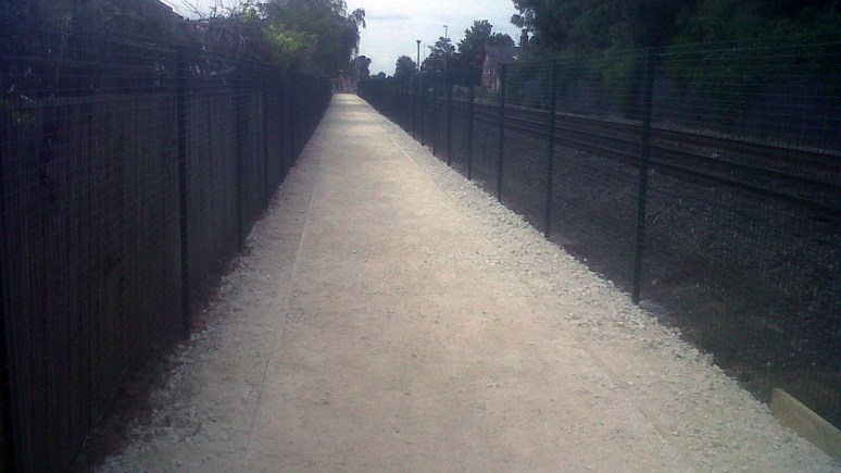 The new pathway on a murky Monday morning. Photo: Nework Rail.