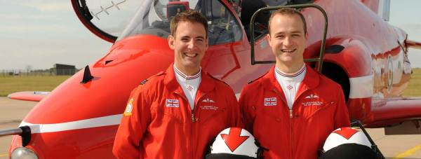 The new Red Arrows pilots (L-R): Flt Lt Stu Campbell and Flt Lt Joe Hourston, both former RAF Tornado pilots. Photo: Cpl Graham Taylor