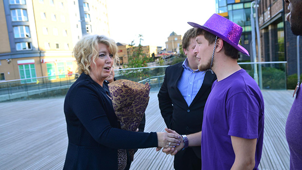 Baroness Newlove meets young people in the city to celebrate Lincoln's own flag award as part of Purple Flag Week. Photo: Steve Smailes for The Lincolnite.