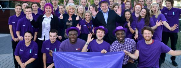 Baroness Newlove and a group of Lincoln youngsters with the city's Purple Flag. Lincoln gained a flag again because it demonstrated how it kept residents safe while out enjoying the nightlife. Photo: Steve Smailes for The Lincolnite