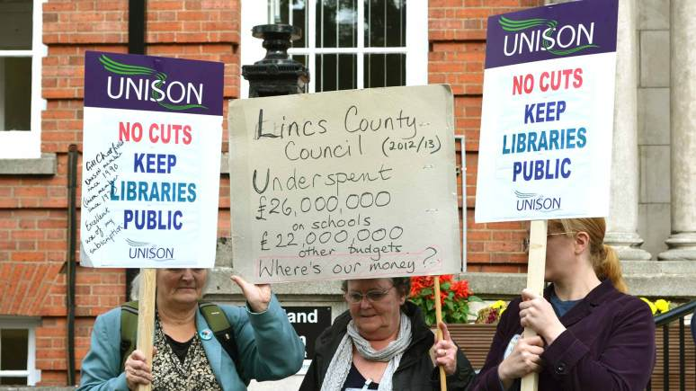 Save Lincolnshire Libraries campaigners outside the County Council on September 30. Photo: File/The Lincolnite