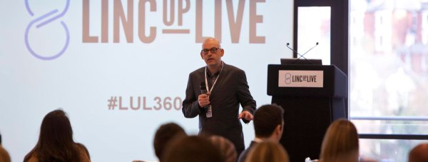 Glenn Le Santo, co-organiser of LincUpLive, speaking at the 2012 conference in Lincoln.