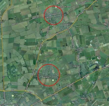 Welton and Nettleham villages north of Lincoln. Map data: Google