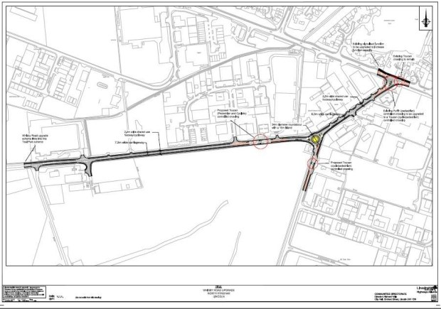 Map of Whisby Road works. Image: LCC | Click to enlarge