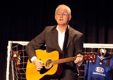 Lincoln-based author Grahame Lloyd, pictured here performing his one man show on football.