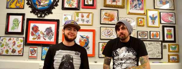L-R: Tattoo artists Ben Horrocks and Ashley Newton.