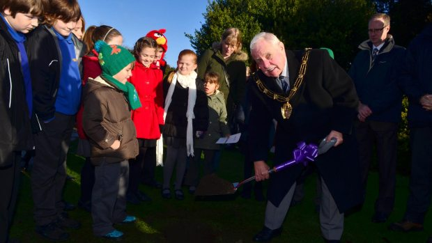 Mayor of Lincoln Patrick Vaughan helped bury the time capsule in Boultham Park. Photo: Steve Smailes for The Lincolnite