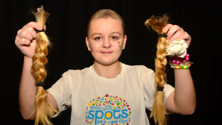 Lincoln teen Keavie-Jaye shaved her head for Children in Need 2013. Photo: Steve Smailes for The Lincolnite