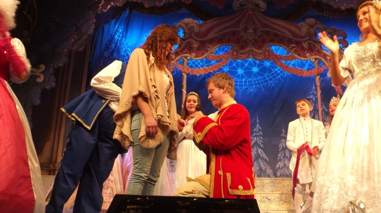 Liam Thorius took to the stage during 'Cinderella' to propose. Photo: Jamie Marcus Productions