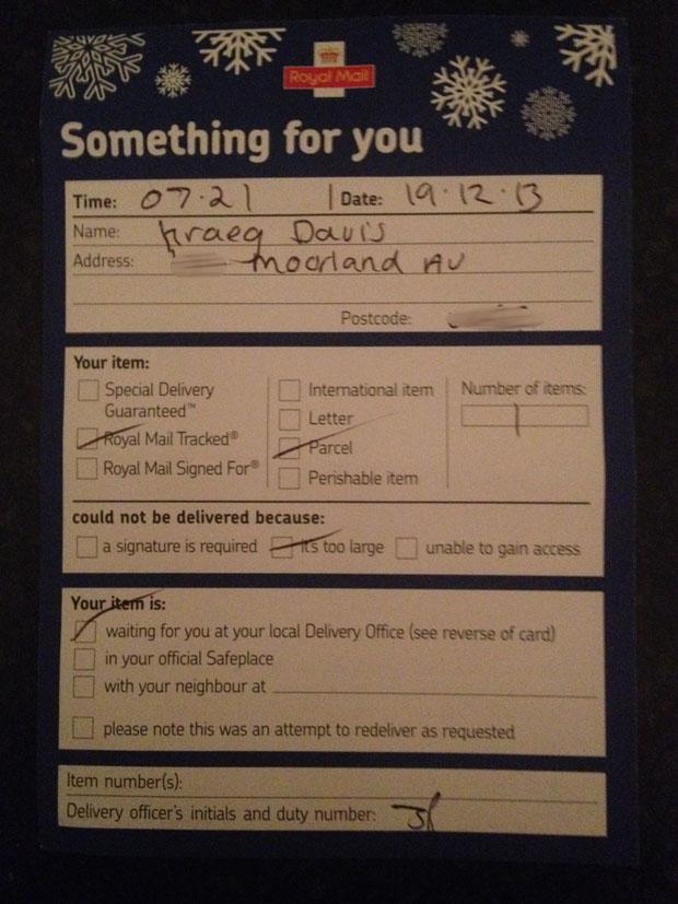 Royal Mail Slip left for Kraeg Davis: Photo: Kraeg Davis