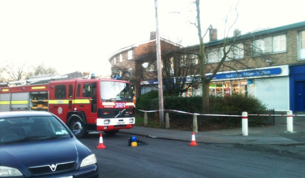 Emergency services attending wind damage to the Co-op store on Woodhall Drive. Photo: Hazel Johnson