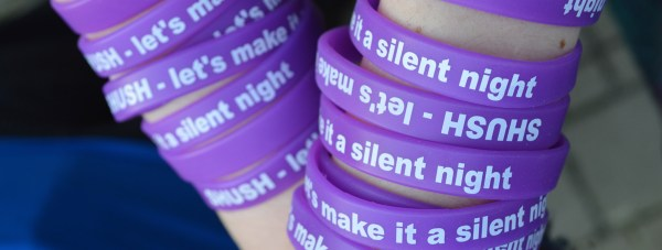 "Wristbands reading ""SHUSH - Let's make it a silent night"" will be issued to students of the University of Lincoln. Photo: CoLC"