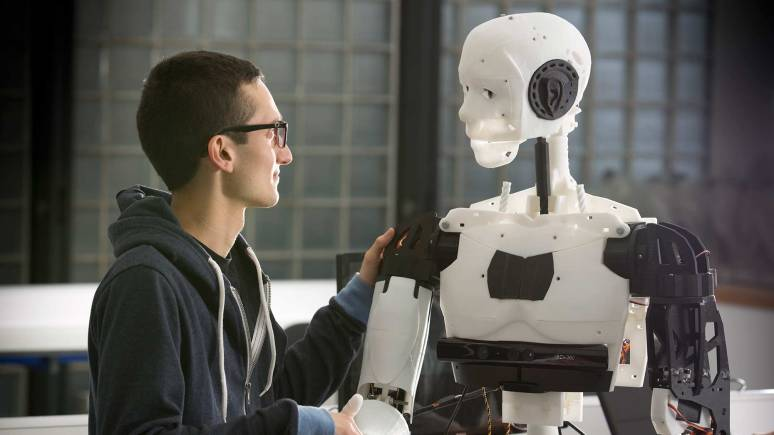 A 3D-pinted android robot by a University of Lincoln research team, which will collate data on how humans interact with it. Photo: University of Lincoln.