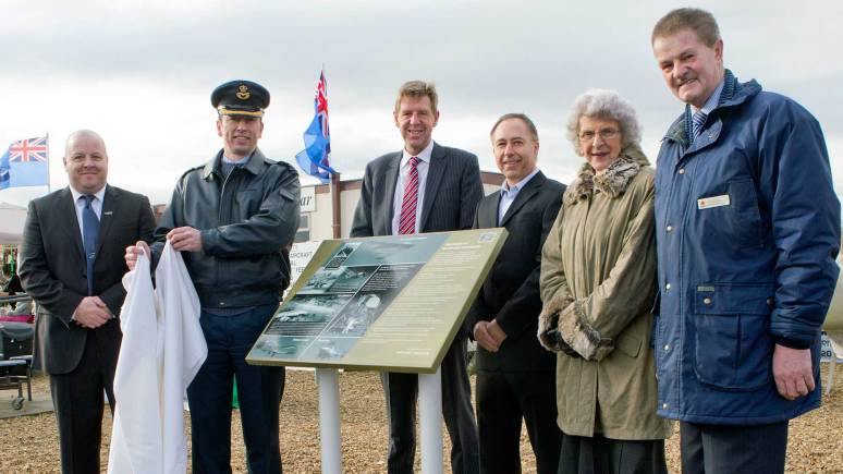L-R: Mr. John Robinson Proprietor of WAVE Café, Station Commander Group Captain Rich Barrow,  John Pearce and Chris Jobling from Northrop Grumman, Councillor Marion Brighton, Leader of NKDC and Mike Gallagher Deputy Leader of NKDC and Councillor for Bracebridge Heath and Waddington East. Photo: RAF Waddington