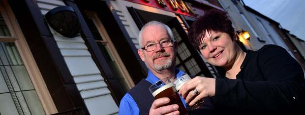 Owners Chris and Sarah Sorrell of The Dog and Bone pub in Lincoln. Photo: Steve Smailes for The Lincolnite