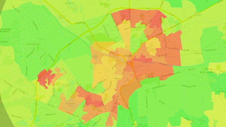 The Illustreets maps living standards of the Lincoln area, colour-coding the best and worst places to live in the city. Source: Illustreets