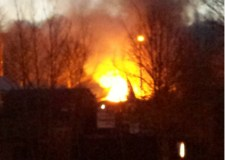 The car fire viewed from the Fire and Rescue HQ in Lincoln. Photo: Lincolnshire Fire and Rescue