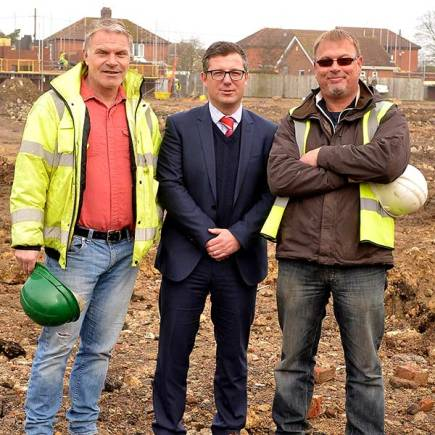 Banks Long & Co Director James Butcher (centre), with Pride Homes Directors Glynn Hughes (left) and Joe Winter (right) on the site in Saxilby.