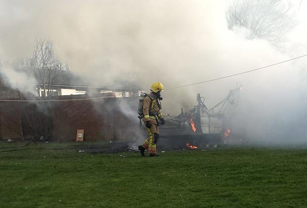 The caravan was completely destroyed in the fire. Photo: Nigel Mulhall