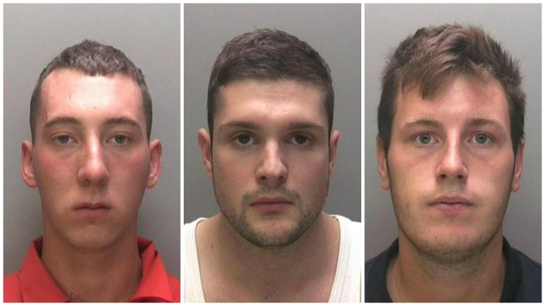 L-R: Kris James Bradley, Daniel Ross Burrell and Alex Taylor, all of which were convicted at Birmingham Crown Court on March 4.