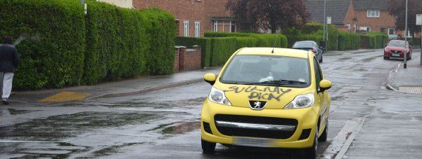 Car graffitied with black paint on the Birchwood Estate in Lincoln.