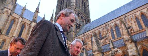 Owen Paterson, the DEFRA Secretary (centre) visiting Lincoln Cathedral. Photo: Steve Smailes for The Lincolnite