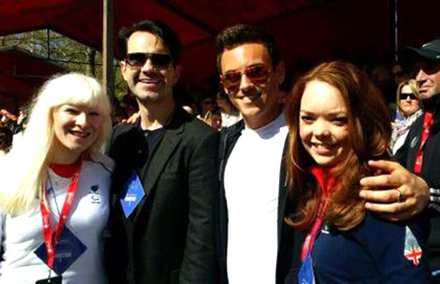 (L-R) Paralympic ski racer Kelly Gallagher, Jimmy Carr, Tom Daley and Lincoln's Paralympian Jade Etherington congratulated fundraisers at the London Marathon finish line. Photo: Jade Etherington Facebook