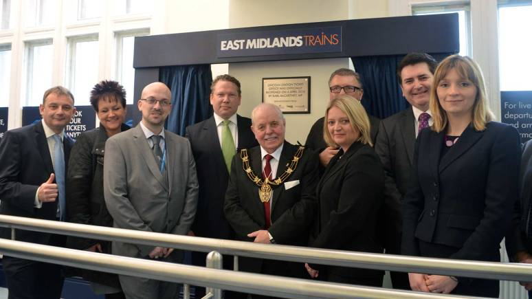 L-R: Andy Moore, Head of Stations at East Midlands Trains; Lisa Breeze, Station Manager; Mark Lambert, Estates Manager at East Midlands Trains; Karl McCartney MP; Mayor of Lincoln Pat Vaughan; Graham Catton, Estates Team at  East Midlands Trains; Wendy Bell, Network Rail; Andrew Taylor, Chief Executive of City of Lincoln; and Vanessa Strange, Accessibility and Policy Manager at Lincs County Council.