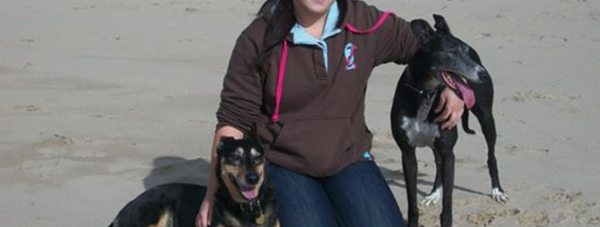 Laura with her dogs Jessie (right) and Jinnie (left)
