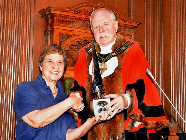 Lincoln Street Pastors' Co-ordinator Joy Liddle receives the Lincoln Civic Award for the Street Pastors from Lincoln Mayor Councillor Pat Vaughan. Photo: CoLC