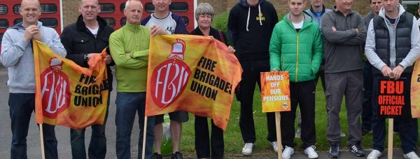 Lincoln firefighters picketing at Lincoln South station in May 2014.