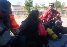 Chris Lowe from the LFR UK ISAR Flood Response team in Bosnia and Herzegovina, on rescue. Photo: Lincs Fire and Rescue