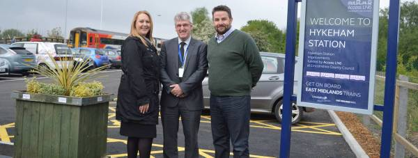 Jane Diver (East Midlands Trains), Geoff Wray (Danwood) and Councillor Richard Davies, Executive Councillor for Highways and Transportation at Lincolnshire County Council. Photo: LCC