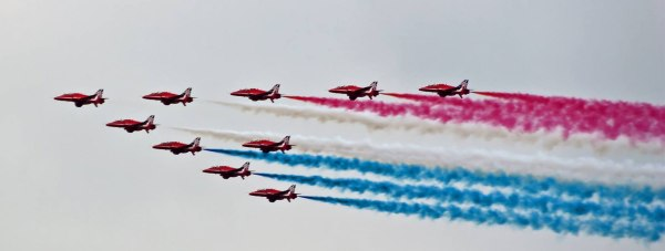 The Red Arrows over Lincoln on May 31, 2014. Photo: John Robinson (over St Giles, taken from Ermine East)