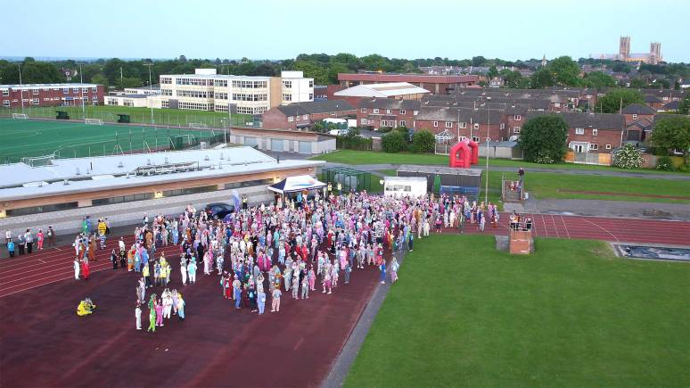 A view from above the starting point of the St Barnabas Moonlight Onesie Walk. Photo: Kurnia Aerial Photography