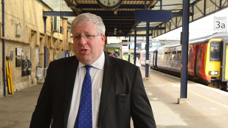 Transport Secretary Patrick McLoughlin at Lincoln Central station on June 26, 2014. Photo: Steve Smailes/The Lincolnite
