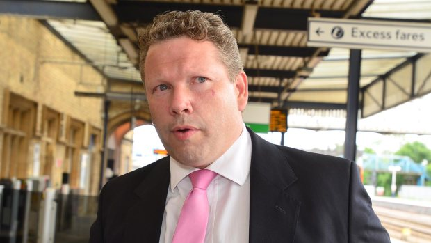 Lincoln MP Karl McCartney at Lincoln Central station after the Transport Secretary visited on june 26, 2014. Photo: Steve Smailes/The Lincolnite